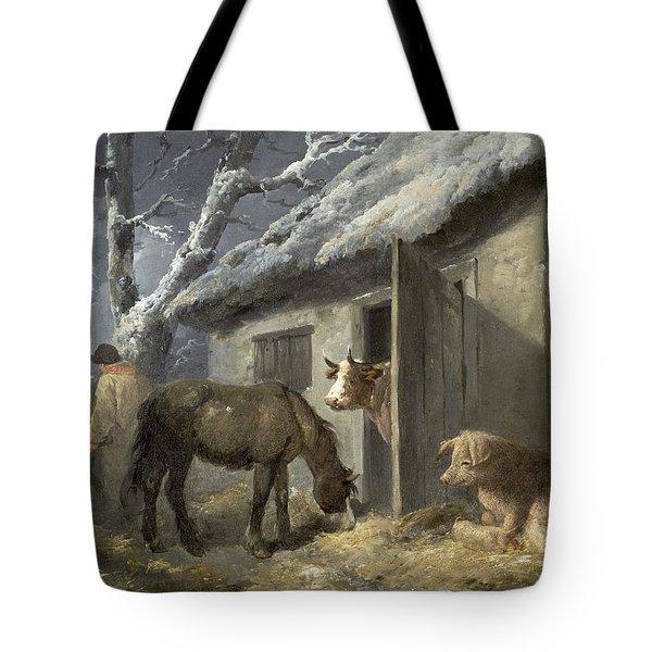 Winter Farmyard Tote Bag by George Morland