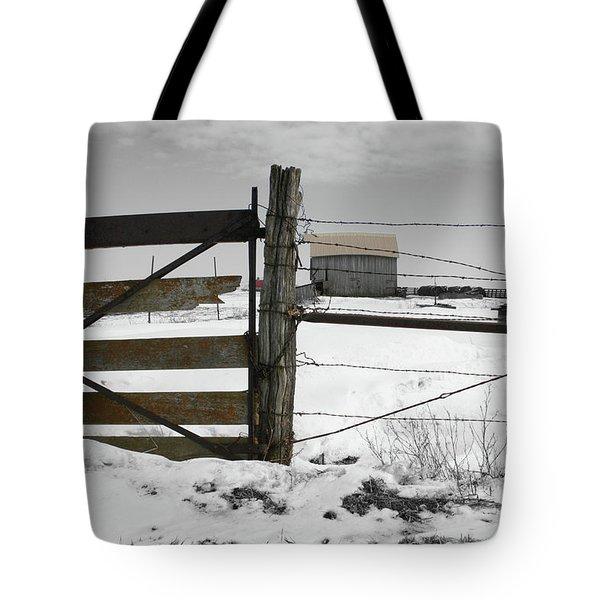 Winter Fence Farm Tote Bag