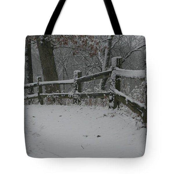 Winter Fence Trail H Tote Bag