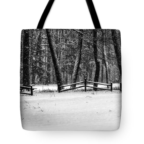 Winter Fences In Black And White  Tote Bag
