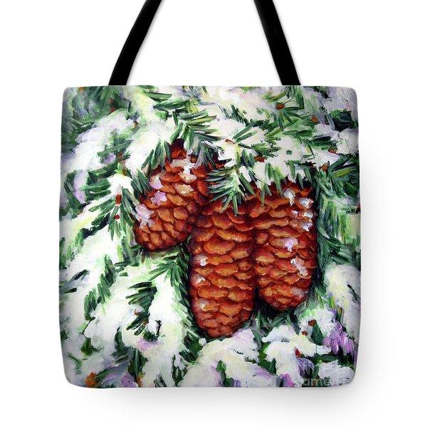 Winter Fir Cones Tote Bag