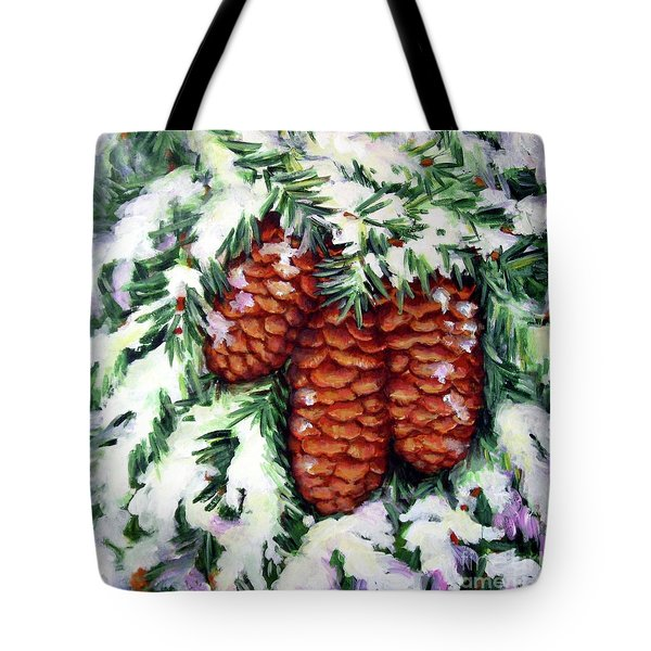 Winter Fir Cones Tote Bag by Inese Poga