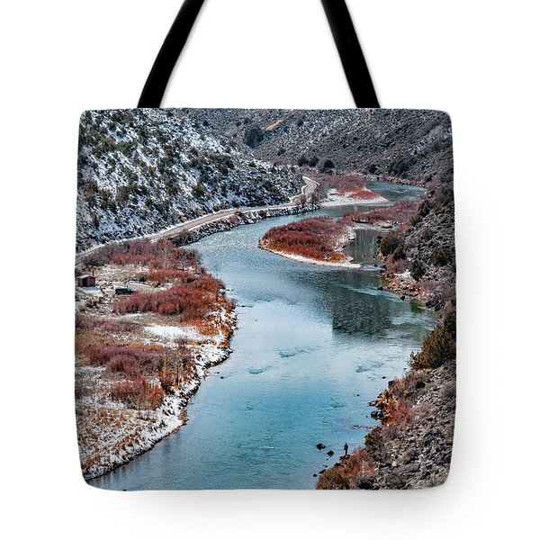 Tote Bag featuring the photograph Winter Fisherman by Britt Runyon