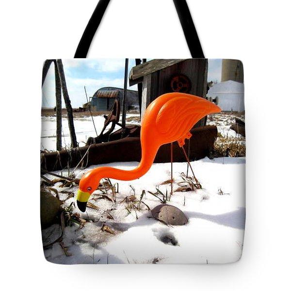 Winter Flamingo Tote Bag