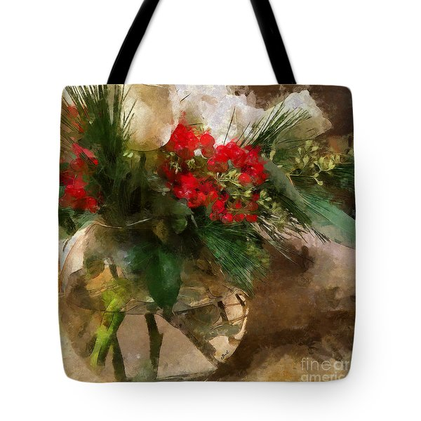Winter Flowers In Glass Vase Tote Bag