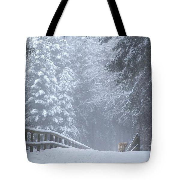 Winter Forest With Golden Retriever Tote Bag by Colleen Williams