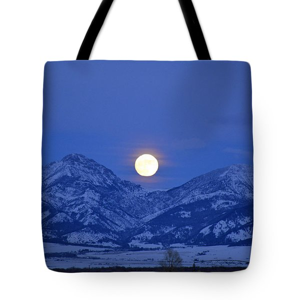 Winter Full Moon Over The Rockies Tote Bag