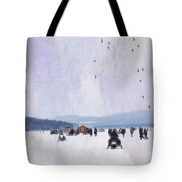 Winter Fun On The Lake Tote Bag