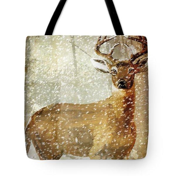 Winter Game Deer Tote Bag