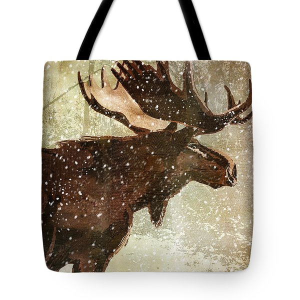 Winter Game Moose Tote Bag