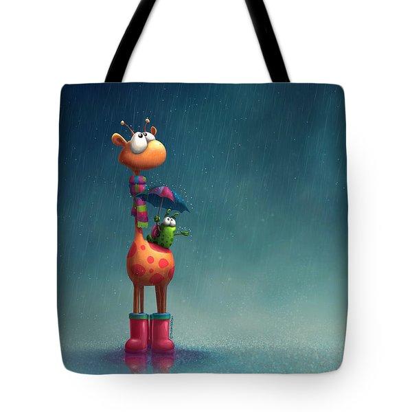 Winter Giraffe Tote Bag