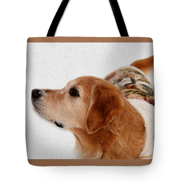 Winter Girl Painted Portrait Tote Bag