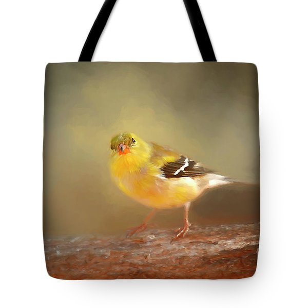 Winter Goldfinch Tote Bag