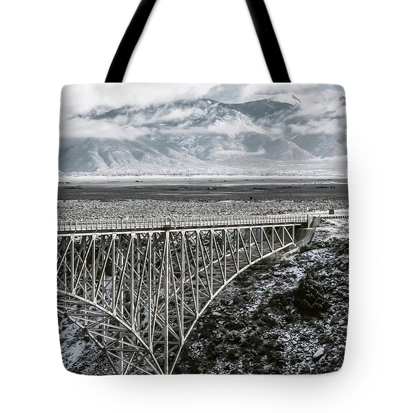 Tote Bag featuring the photograph Winter Gorge Bridge  by Britt Runyon