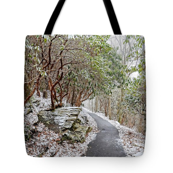 Winter Hiking Trail Tote Bag