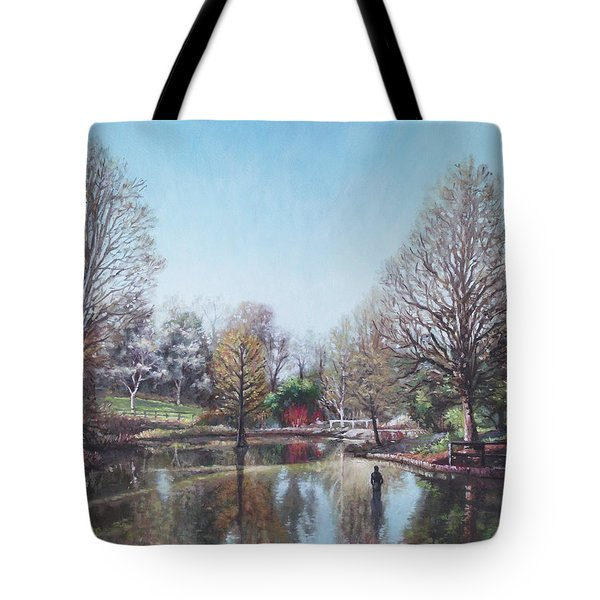 Tote Bag featuring the painting Winter Hilliers Garden Hampshire by Martin Davey