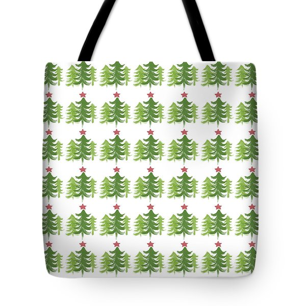 Winter Holiday Trees 1-  Art By Linda Woods Tote Bag