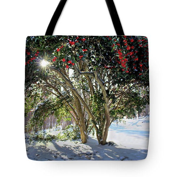 Tote Bag featuring the photograph Winter Holly by Jessica Brawley