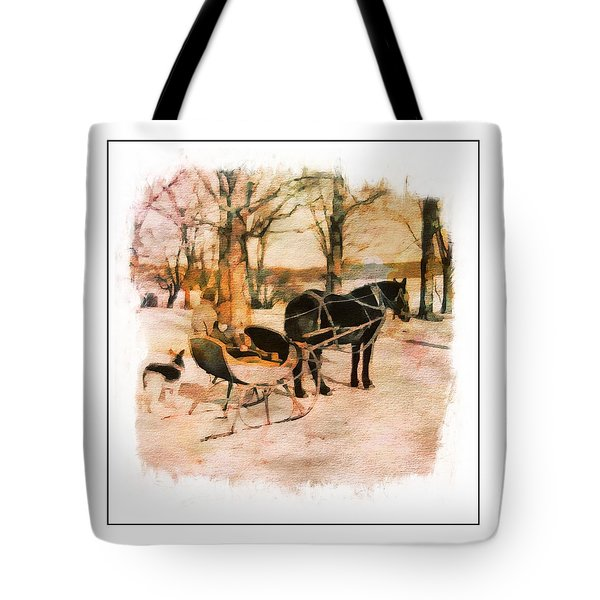 Winter Horse Sled Tote Bag