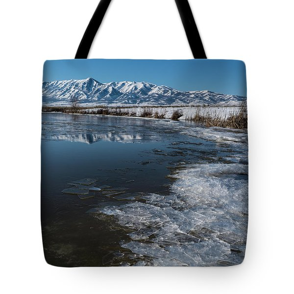 Winter Ice Flows Tote Bag by Justin Johnson
