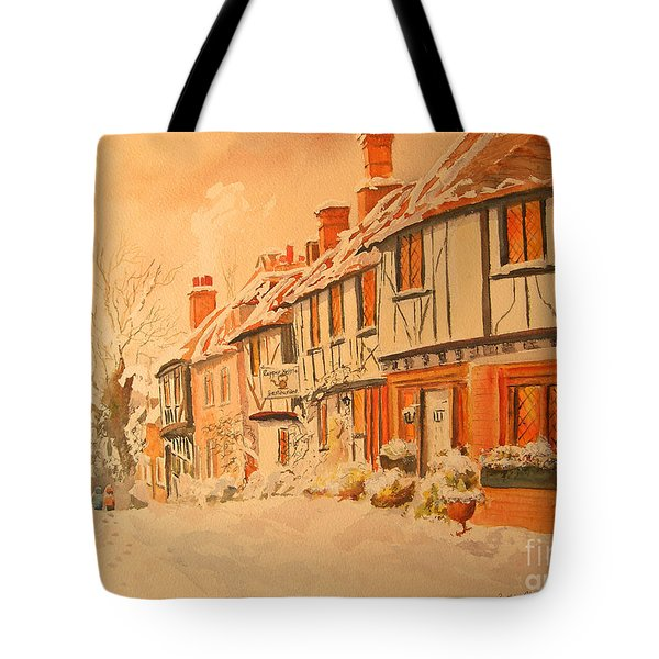 Tote Bag featuring the painting Winter In Chilham Kent by Beatrice Cloake
