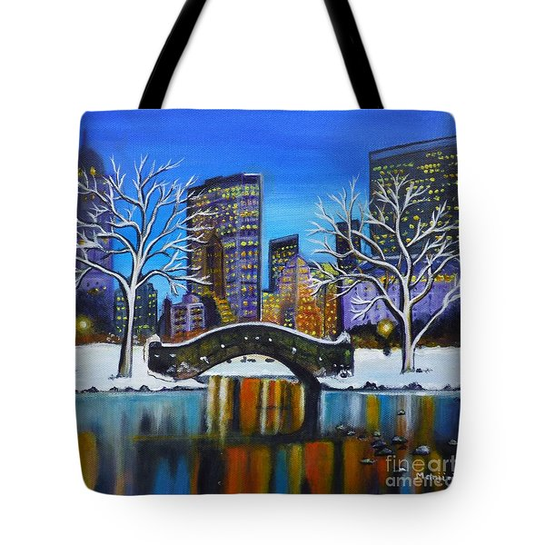 Winter In New York- Night Landscape Tote Bag