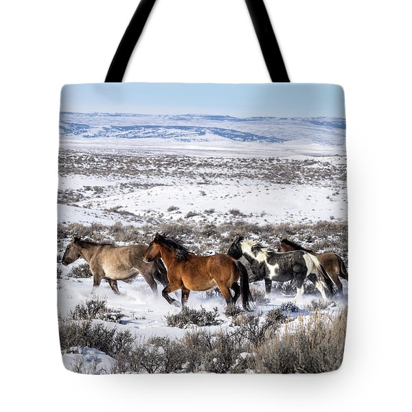 Winter In Sand Wash Basin - Wild Mustangs On The Run Tote Bag