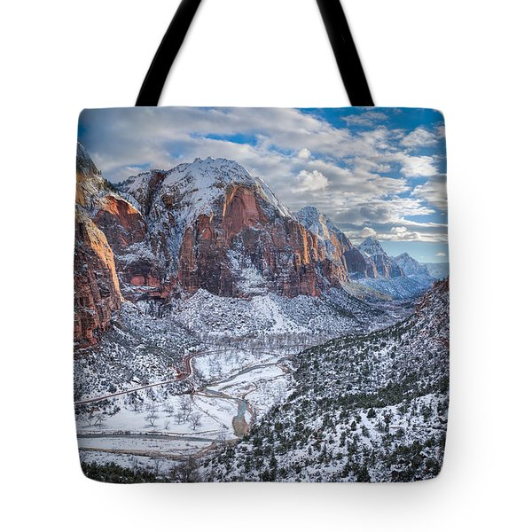 Winter In Zion National Park Tote Bag