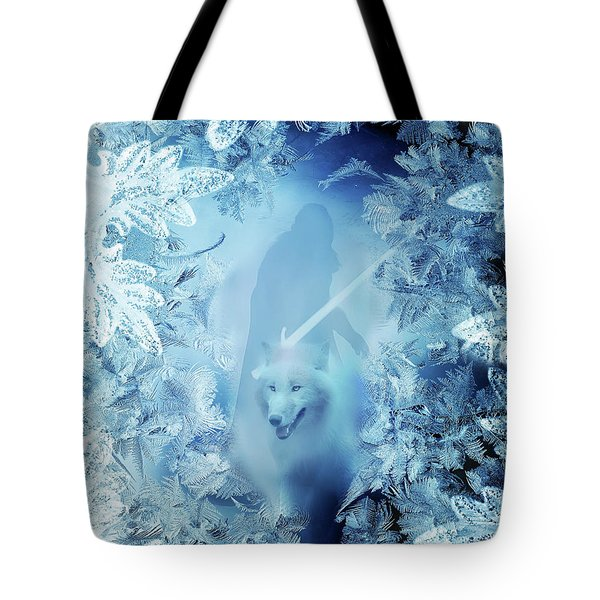 Winter Is Here - Jon Snow And Ghost - Game Of Thrones Tote Bag by Lilia D