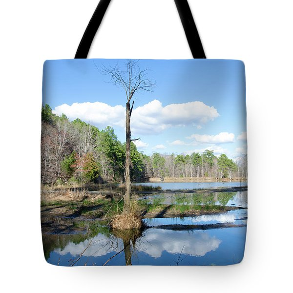 Winter Lake View Tote Bag by George Randy Bass