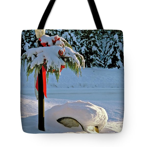 Winter Lamp Post In The Snow With Christmas Bough Tote Bag