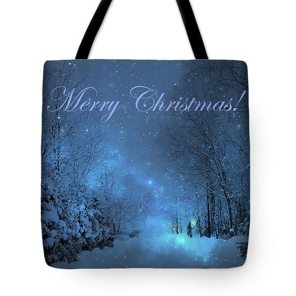 Winter Landscape Blue Christmas Card Tote Bag