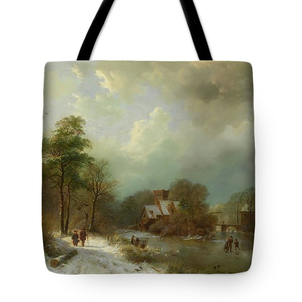 Tote Bag featuring the painting Winter Landscape - Holland by Barend Koekkoek