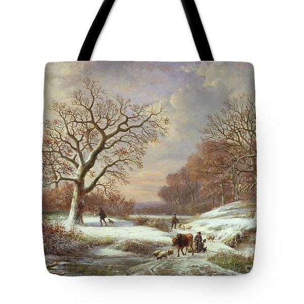 Winter Landscape Tote Bag by Louis Verboeckhoven
