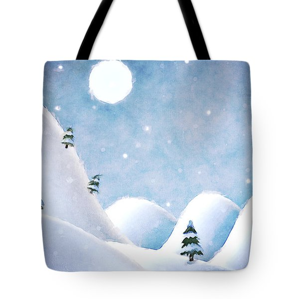 Winter Landscape Under Full Moon Tote Bag