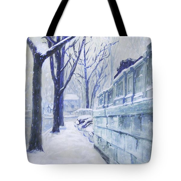 Winter Landscape Washington Dc Original Painting Sketch Tote Bag