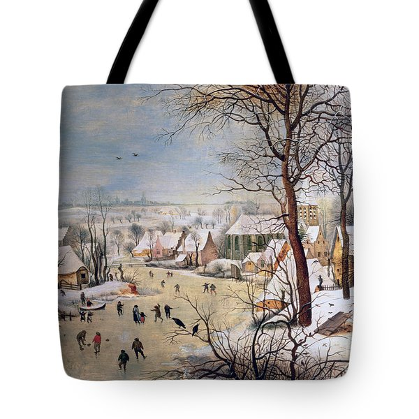 Winter Landscape With Birdtrap Tote Bag by Pieter the elder Bruegel
