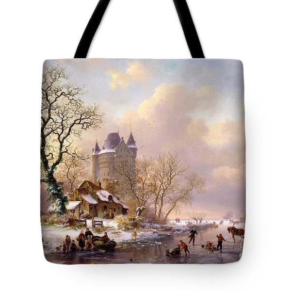 Winter Landscape With Castle Tote Bag