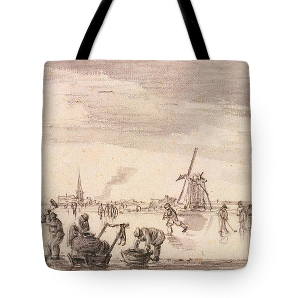Winter Landscape With Skaters And Fishermen Tote Bag