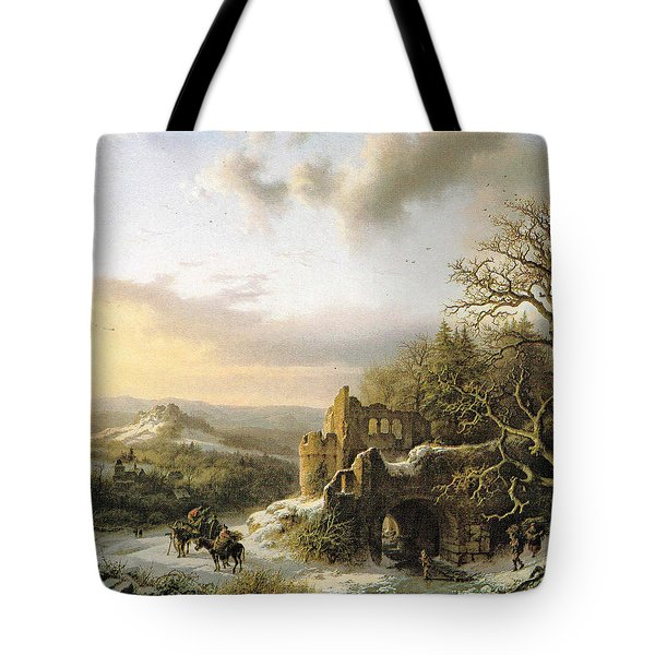 Winter Landscape With Peasants Gathering Wood Tote Bag