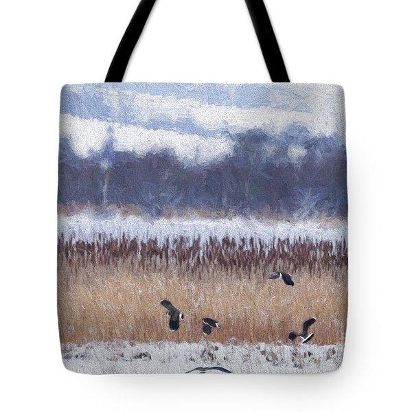 Winter Lapwings Tote Bag by Liz Leyden
