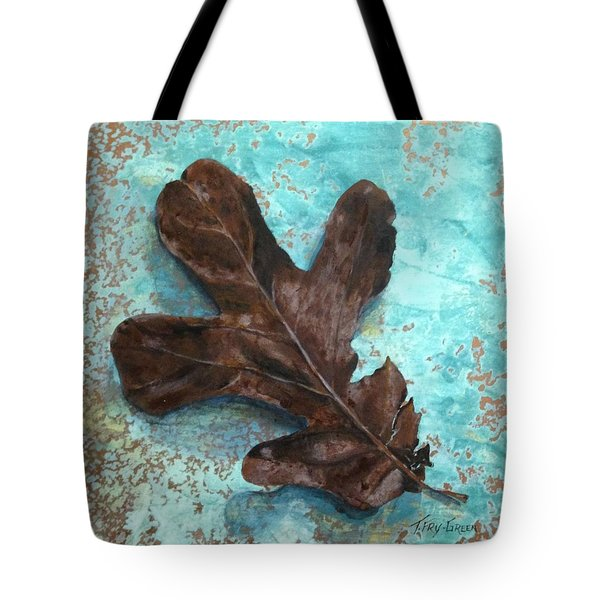 Winter Leaf Tote Bag by T Fry-Green
