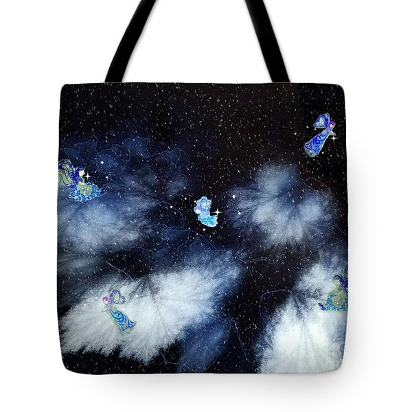 Winter Leaves And Fairies Tote Bag