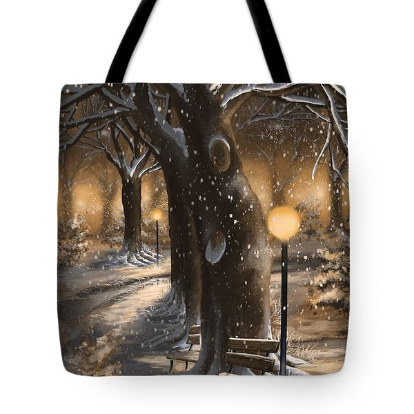 Tote Bag featuring the painting Winter Magic by Veronica Minozzi
