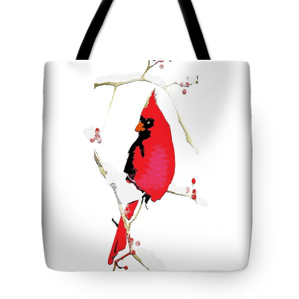 Tote Bag featuring the mixed media Winter Messenger by Larry Talley