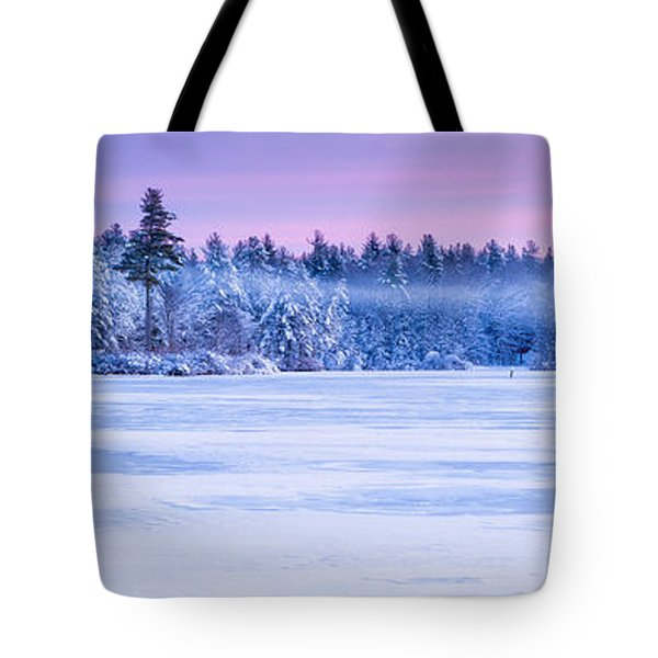 Winter Mist Baxter Lake New Hampshire Tote Bag