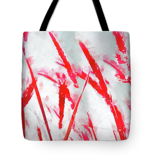 Tote Bag featuring the painting Winter Moods 2 - Winterberry Red And Snowy White Nature Abstract by Menega Sabidussi