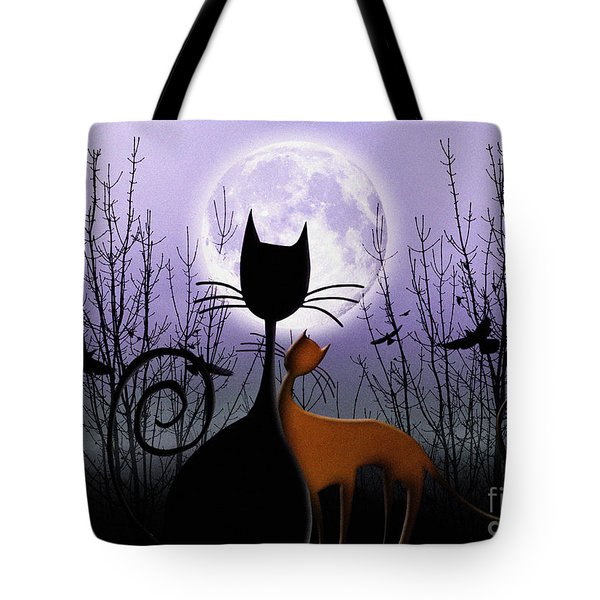 Tote Bag featuring the digital art Winter Moon Cats In Love by Rosa Cobos