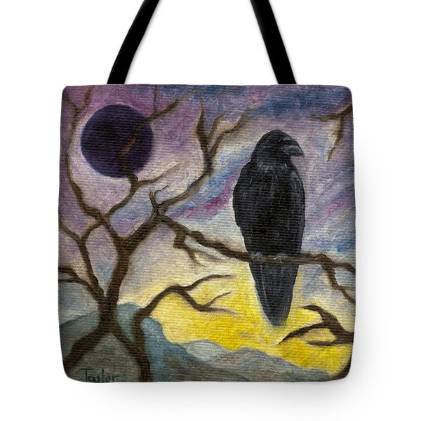 Winter Moon Raven Tote Bag