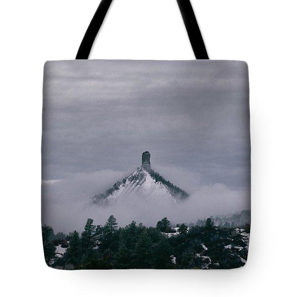 Winter Morning Fog Envelops Chimney Rock Tote Bag